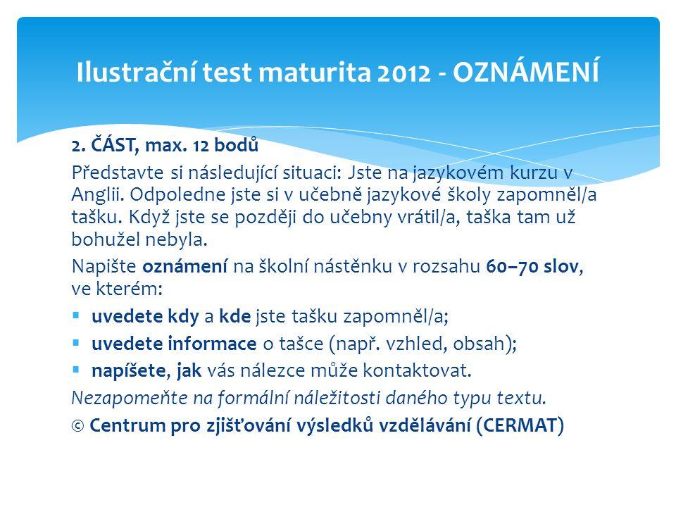 Ilustrační test maturita 2012 - OZNÁMENÍ