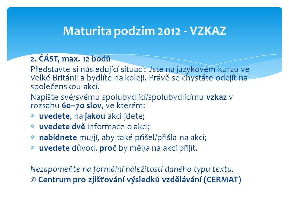 Maturita podzim 2012 - VZKAZ