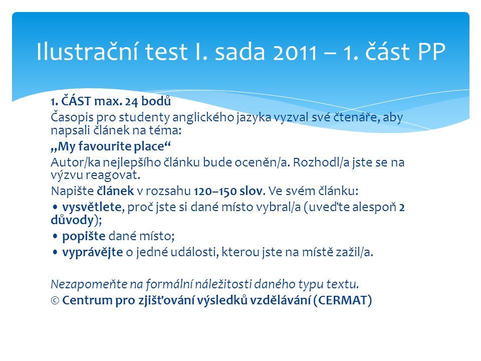 Ilustrační test I. sada 2011 – 1. část PP