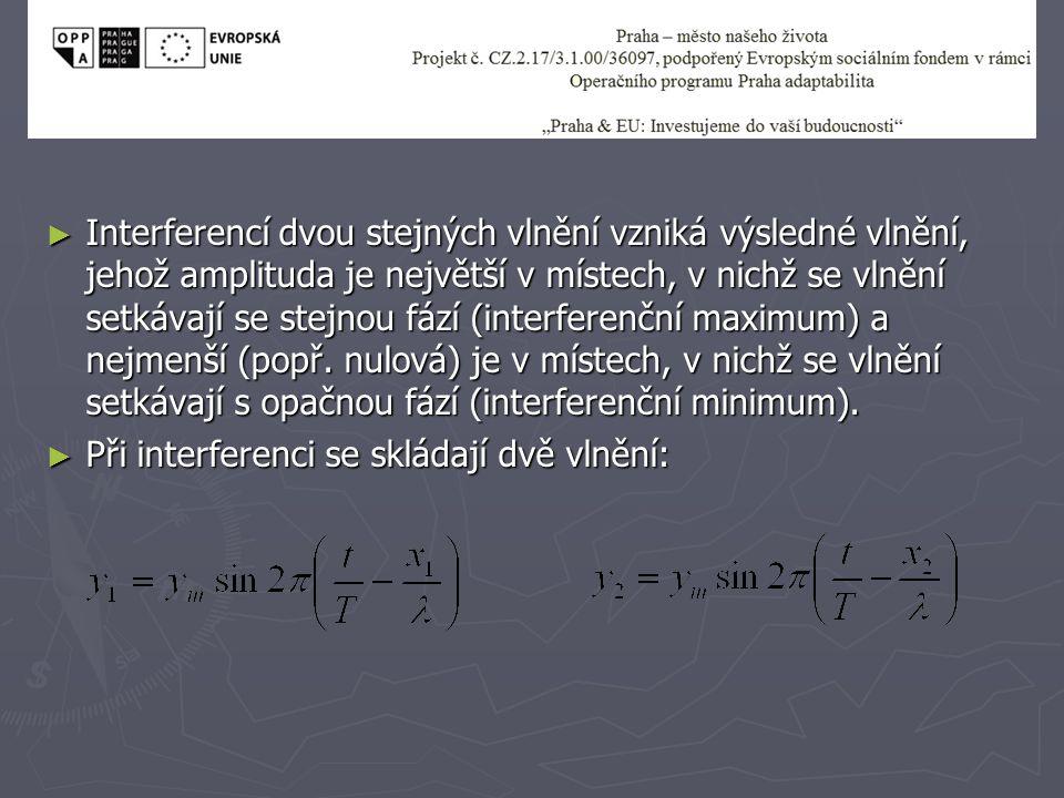 Interferencí dvou stejných vlnění vzniká výsledné vlnění, jehož amplituda je největší v místech, v nichž se vlnění setkávají se stejnou fází (interferenční maximum) a nejmenší (popř. nulová) je v místech, v nichž se vlnění setkávají s opačnou fází (interferenční minimum).