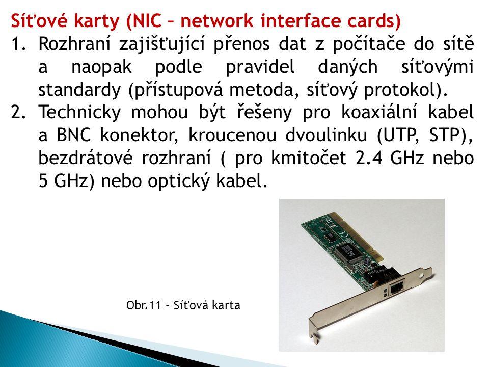 Síťové karty (NIC – network interface cards)