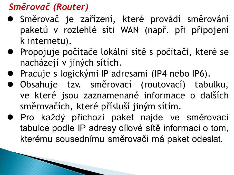 Směrovač (Router) Směrovač je zařízení, které provádí směrování paketů v rozlehlé síti WAN (např. při připojení k internetu).