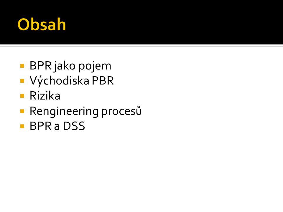 Obsah BPR jako pojem Východiska PBR Rizika Rengineering procesů