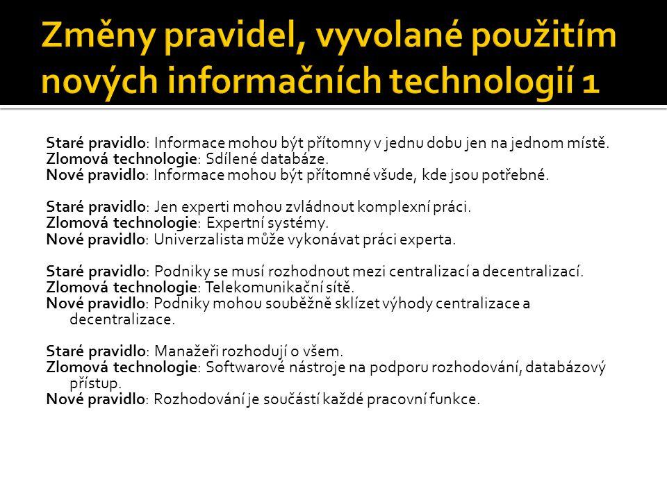 Změny pravidel, vyvolané použitím nových informačních technologií 1