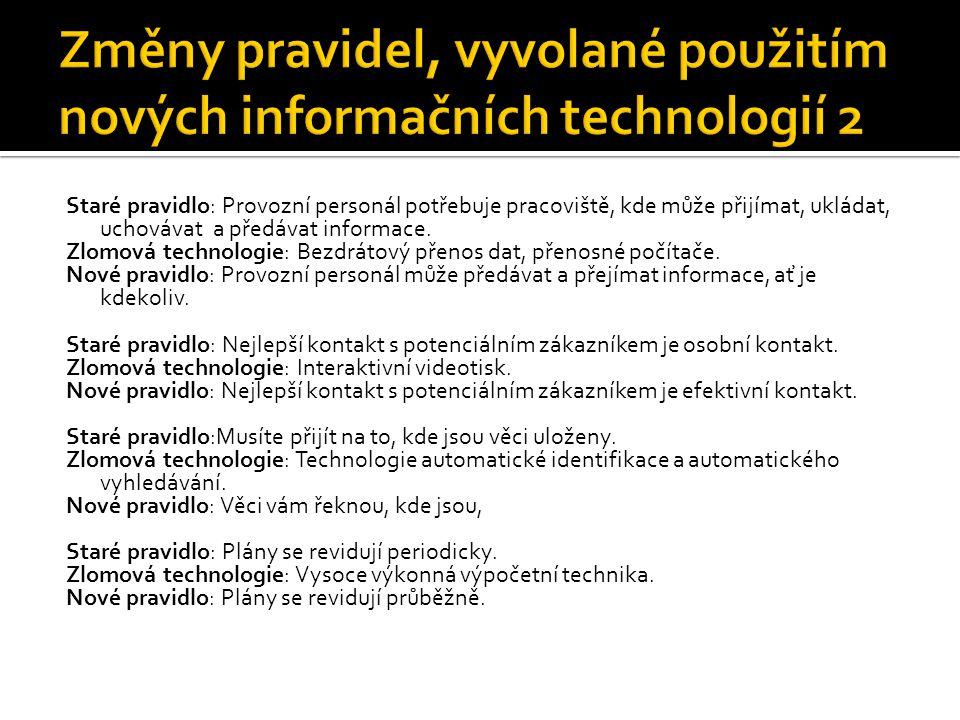 Změny pravidel, vyvolané použitím nových informačních technologií 2