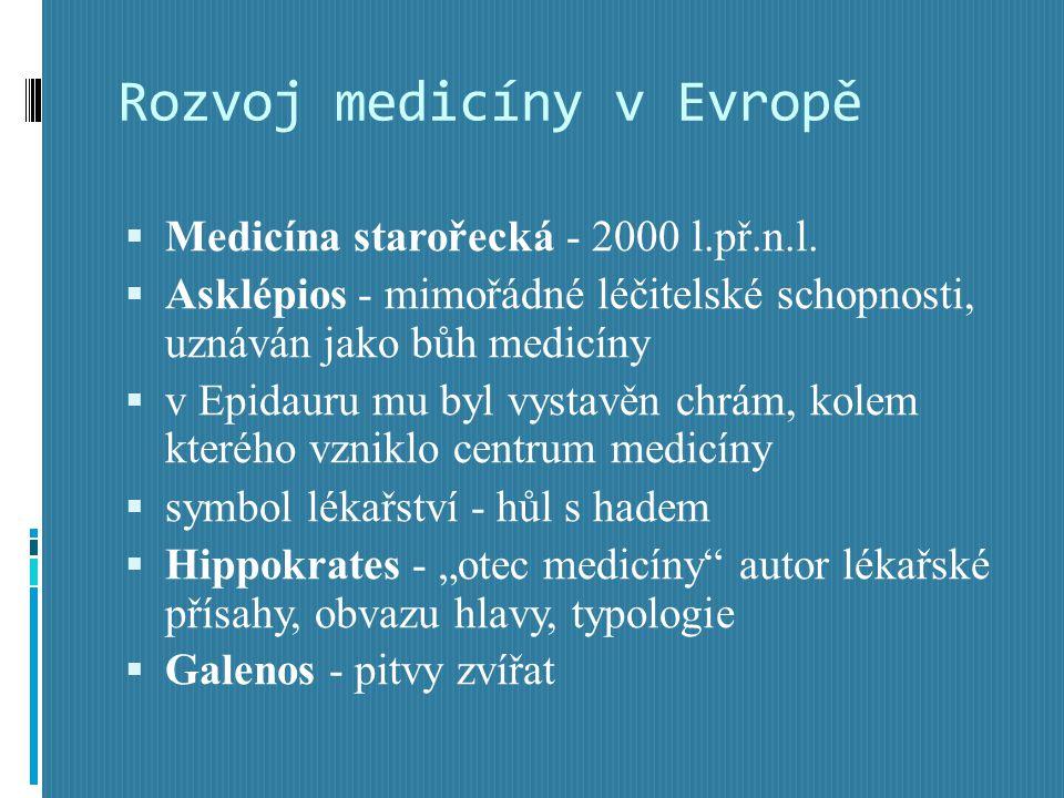 Rozvoj medicíny v Evropě