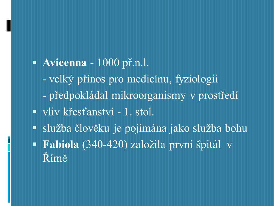 Avicenna - 1000 př.n.l. - velký přínos pro medicínu, fyziologii. - předpokládal mikroorganismy v prostředí.