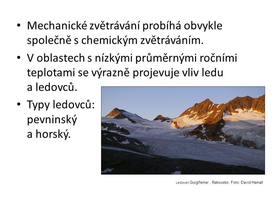 Typy ledovců: pevninský a horský.