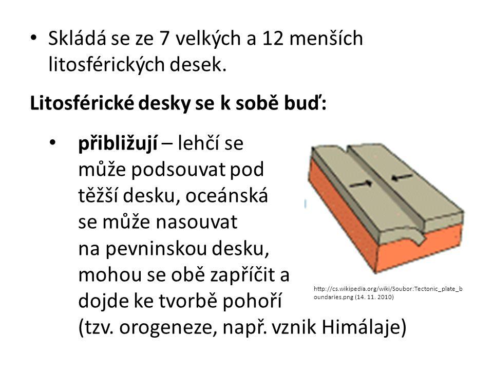 Skládá se ze 7 velkých a 12 menších litosférických desek.