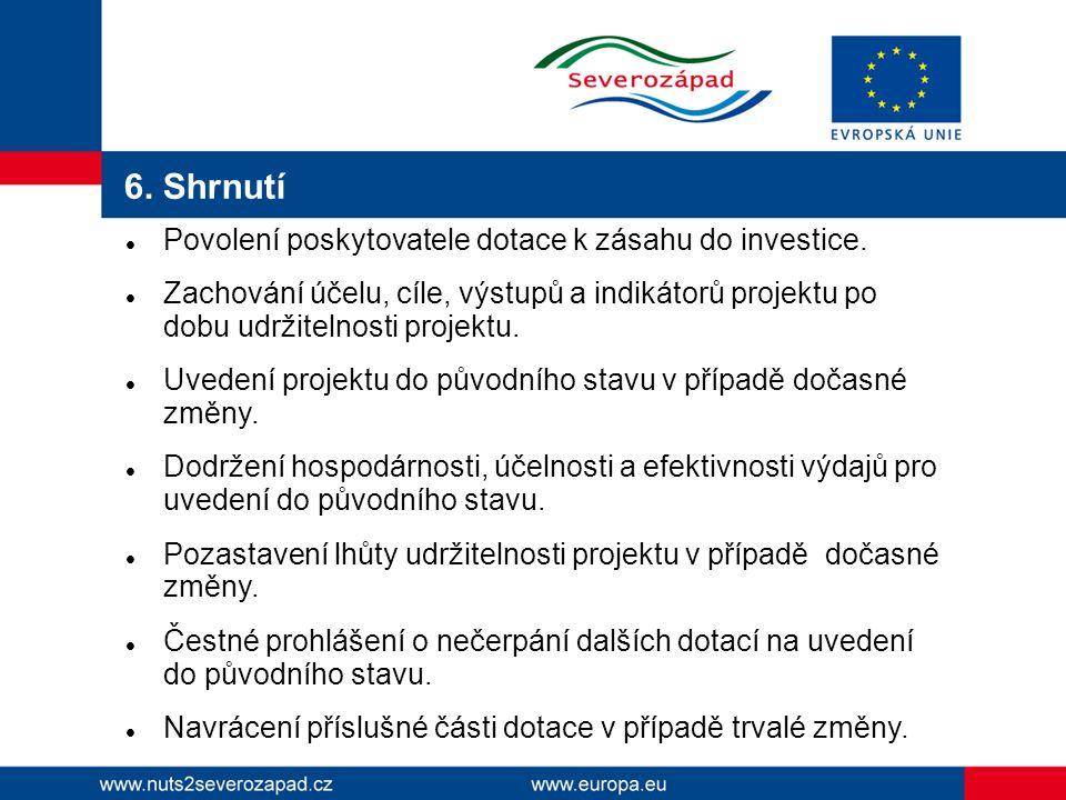 6. Shrnutí Povolení poskytovatele dotace k zásahu do investice.