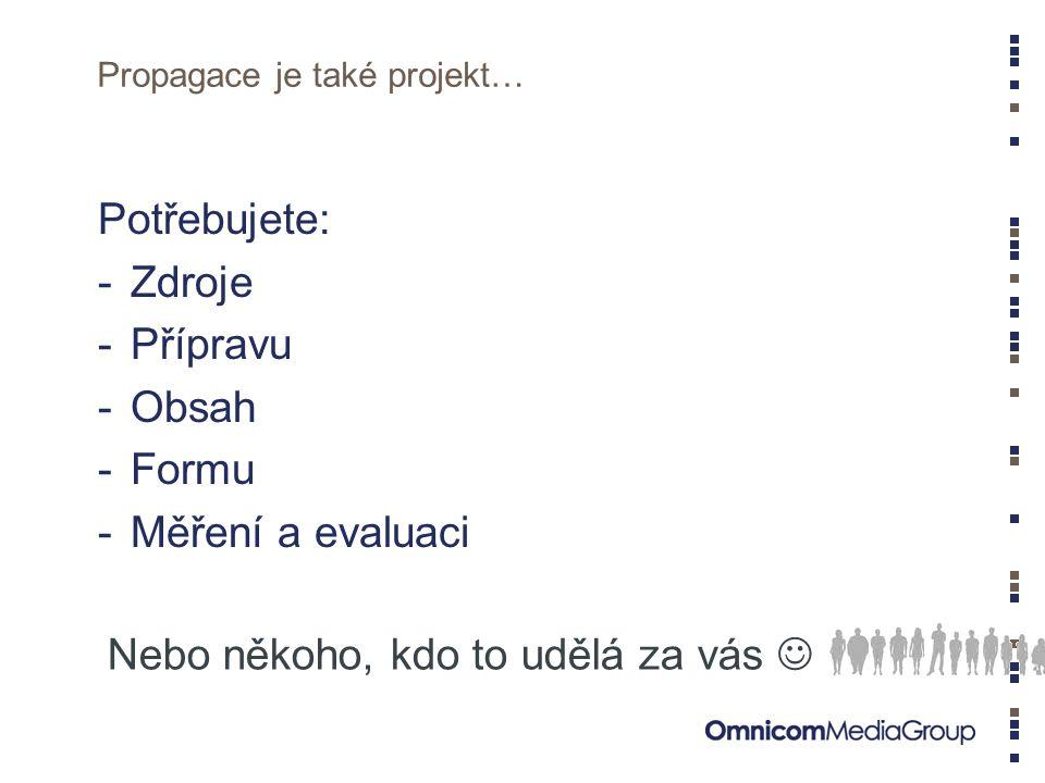 Propagace je také projekt…