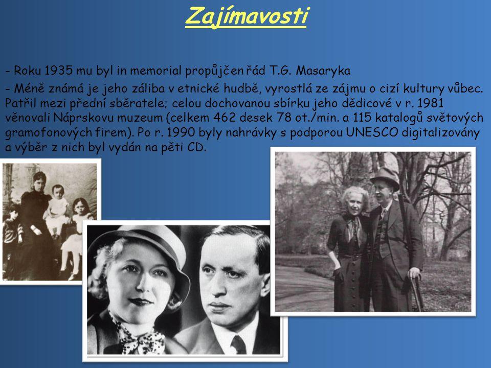 Zajímavosti Roku 1935 mu byl in memorial propůjčen řád T.G. Masaryka