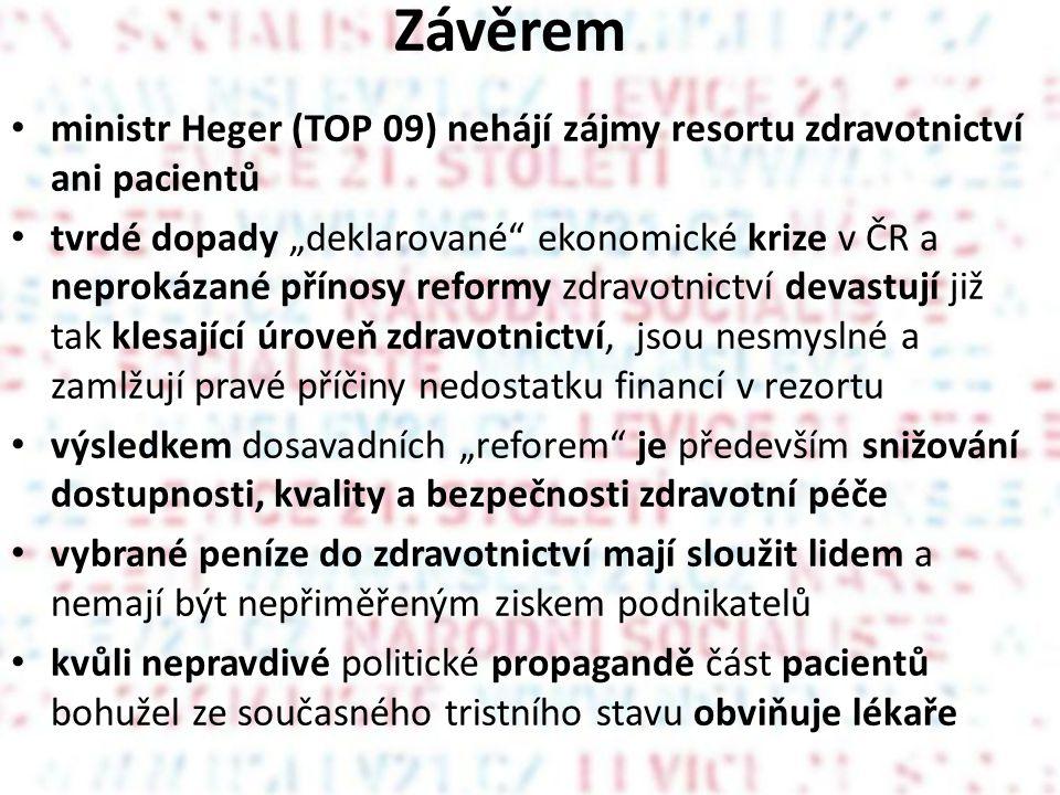 Závěrem ministr Heger (TOP 09) nehájí zájmy resortu zdravotnictví ani pacientů.
