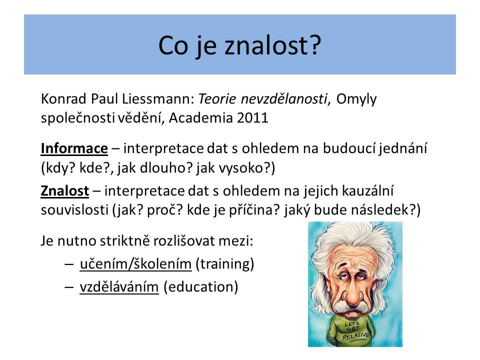 Co je znalost Konrad Paul Liessmann: Teorie nevzdělanosti, Omyly společnosti vědění, Academia 2011.