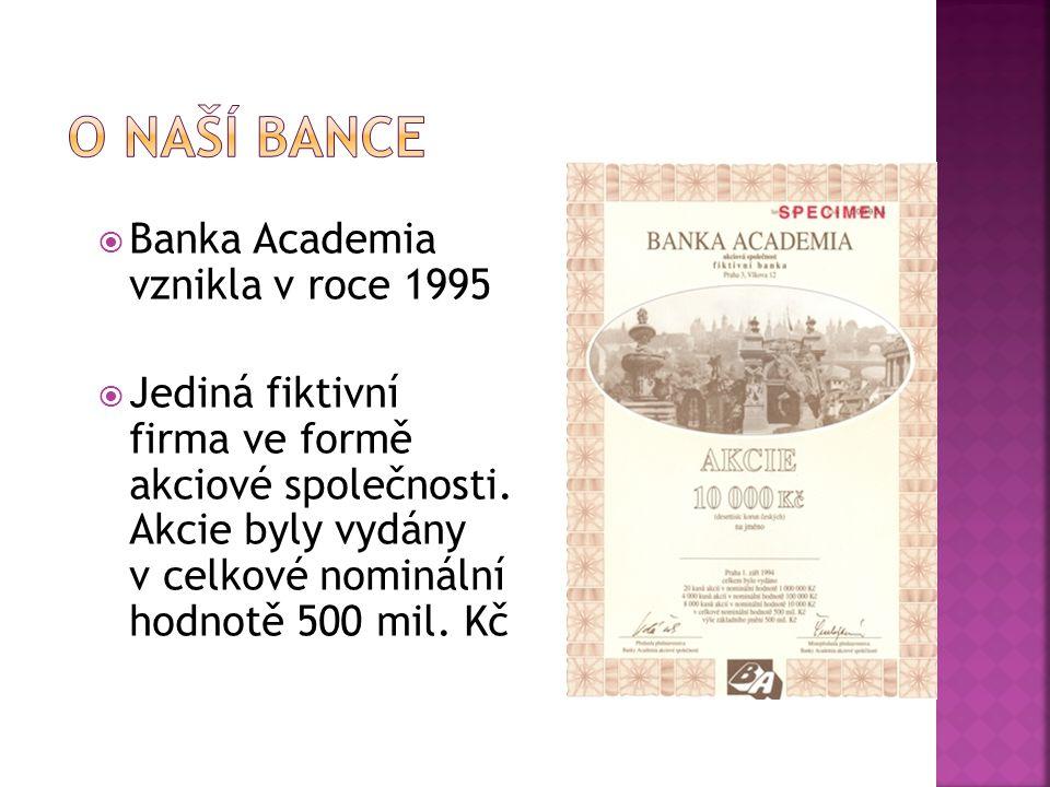 O naší bance Banka Academia vznikla v roce 1995
