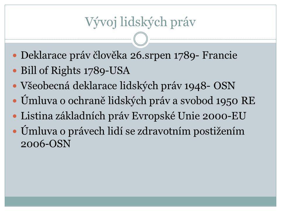 Vývoj lidských práv Deklarace práv člověka 26.srpen 1789- Francie