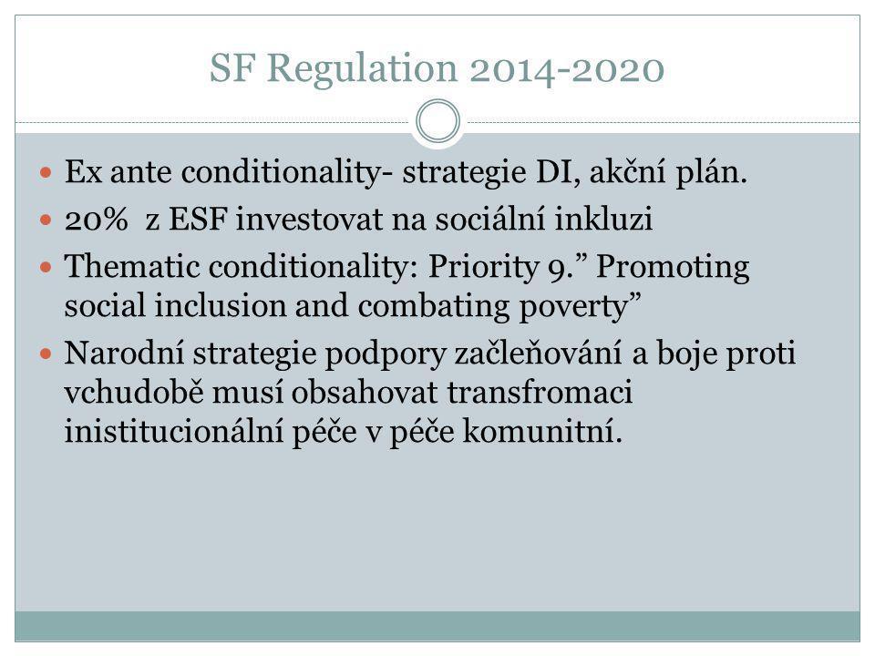 SF Regulation 2014-2020 Ex ante conditionality- strategie DI, akční plán. 20% z ESF investovat na sociální inkluzi.