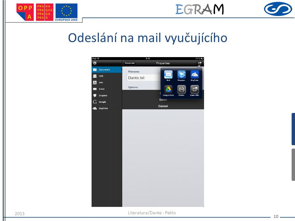 Odeslání na mail vyučujícího