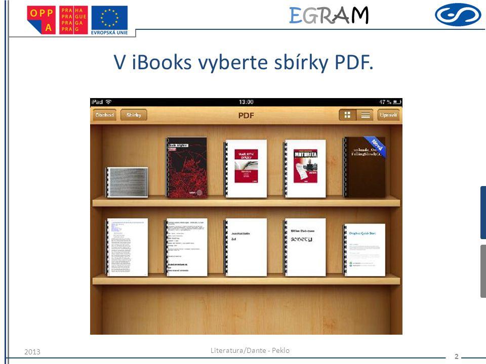 V iBooks vyberte sbírky PDF.