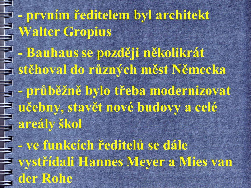 - prvním ředitelem byl architekt Walter Gropius