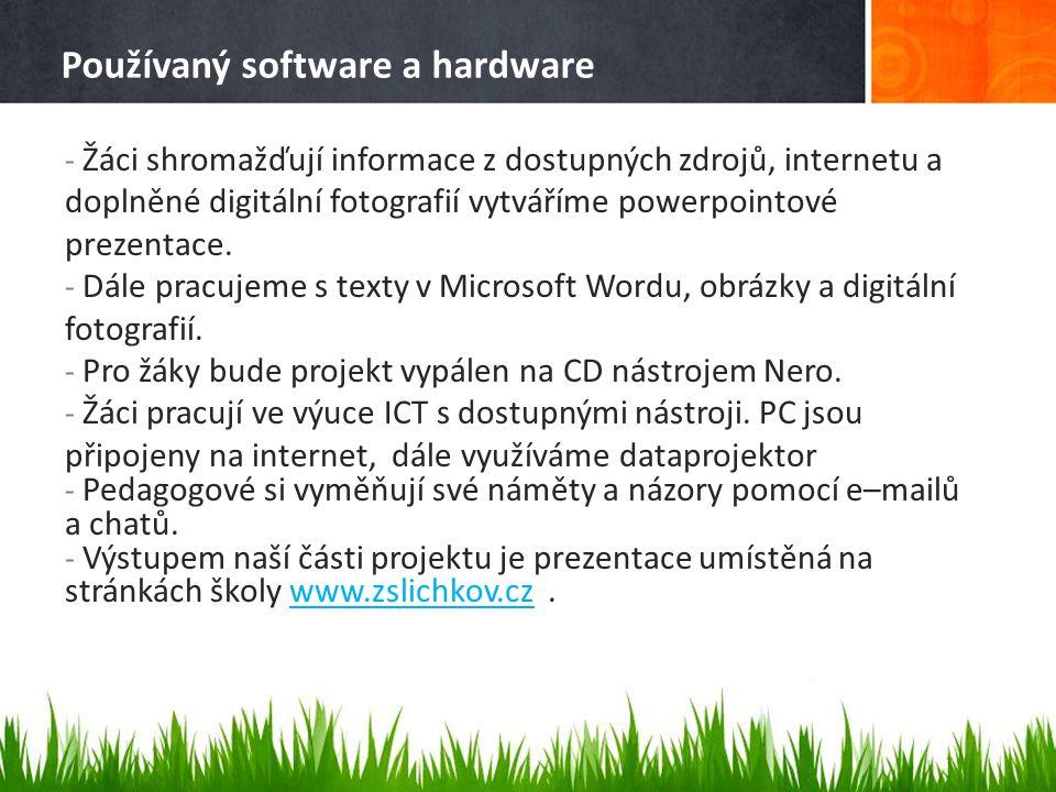 Používaný software a hardware