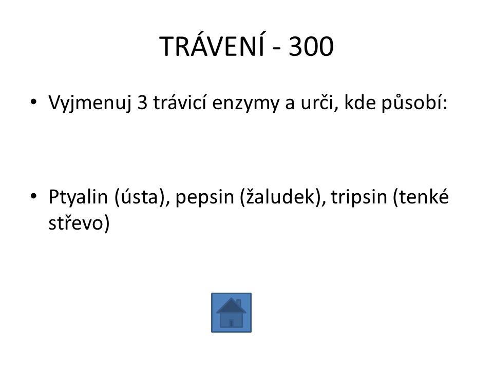 TRÁVENÍ - 300 Vyjmenuj 3 trávicí enzymy a urči, kde působí: