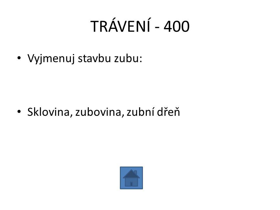TRÁVENÍ - 400 Vyjmenuj stavbu zubu: Sklovina, zubovina, zubní dřeň