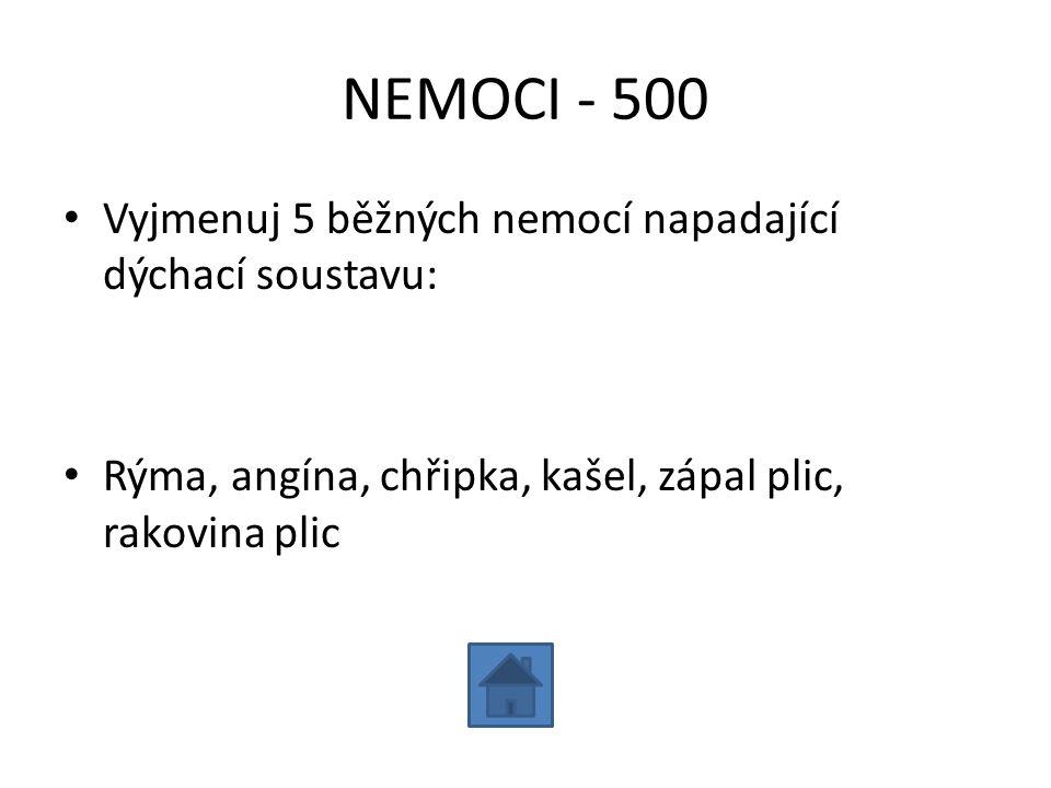 NEMOCI - 500 Vyjmenuj 5 běžných nemocí napadající dýchací soustavu: