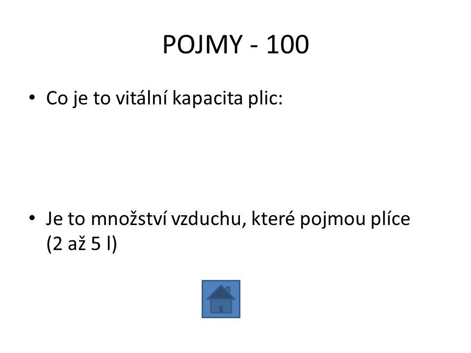 POJMY - 100 Co je to vitální kapacita plic: