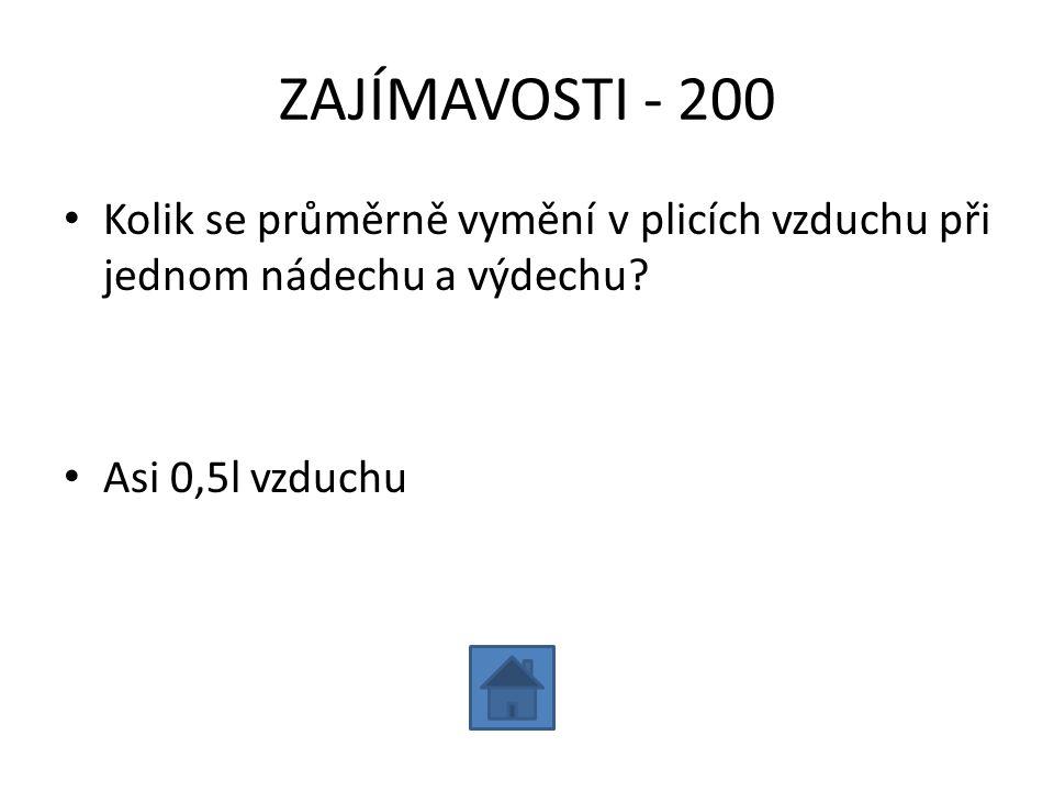 ZAJÍMAVOSTI - 200 Kolik se průměrně vymění v plicích vzduchu při jednom nádechu a výdechu.