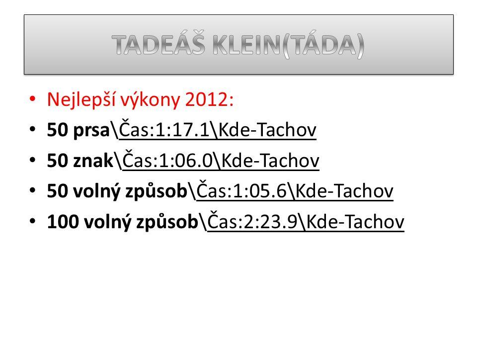 TADEÁŠ KLEIN(TÁDA) Nejlepší výkony 2012: 50 prsa\Čas:1:17.1\Kde-Tachov