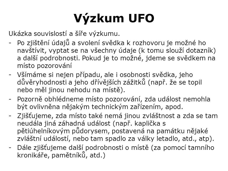 Výzkum UFO Ukázka souvislostí a šíře výzkumu.