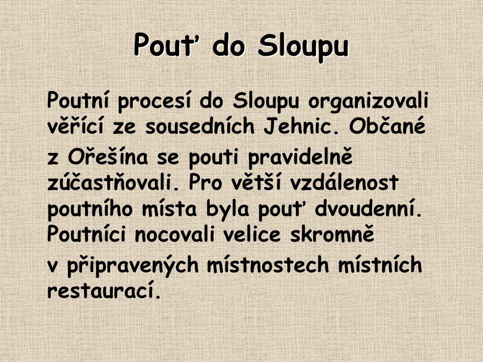 Pouť do Sloupu Poutní procesí do Sloupu organizovali věřící ze sousedních Jehnic. Občané.