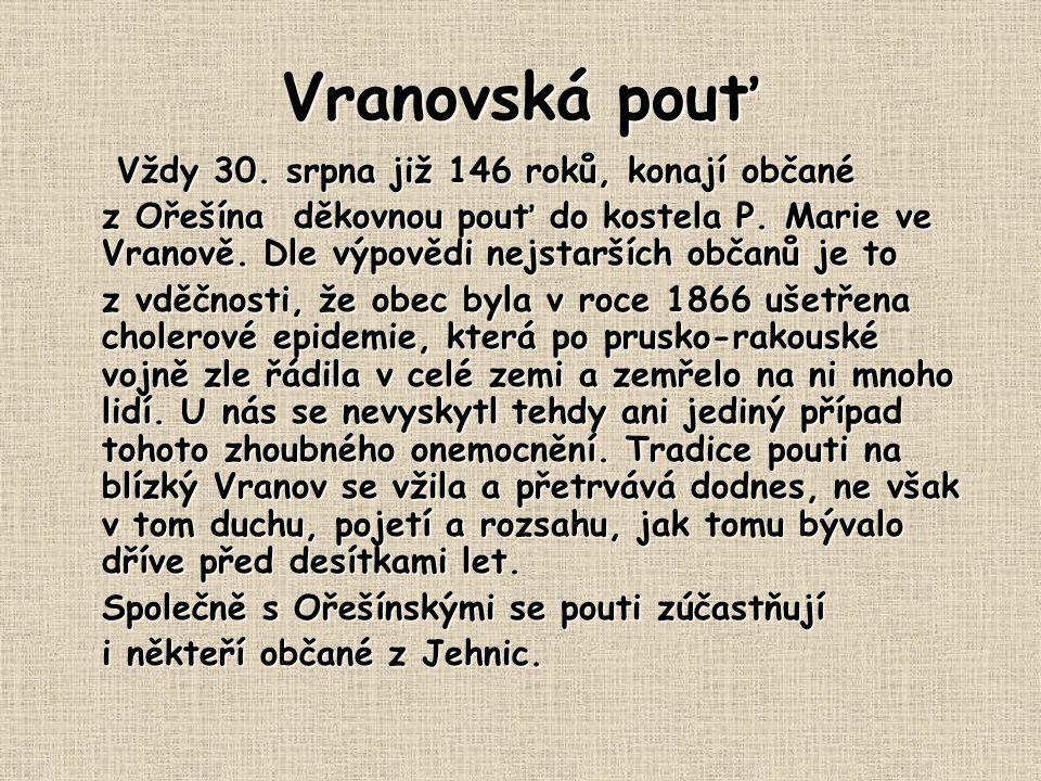Vranovská pouť Vždy 30. srpna již 146 roků, konají občané