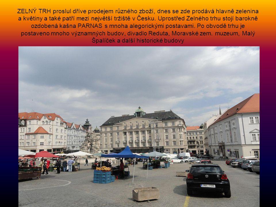 ZELNÝ TRH proslul dříve prodejem různého zboží, dnes se zde prodává hlavně zelenina a květiny a také patří mezi největší tržiště v Česku.