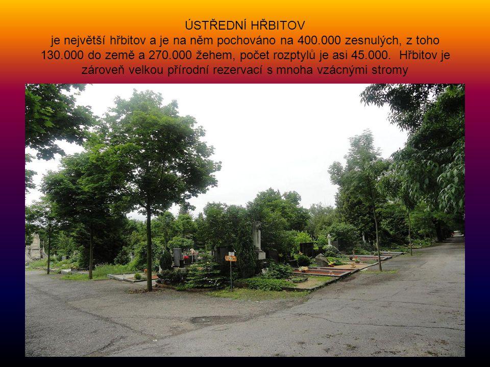 ÚSTŘEDNÍ HŘBITOV je největší hřbitov a je na něm pochováno na 400