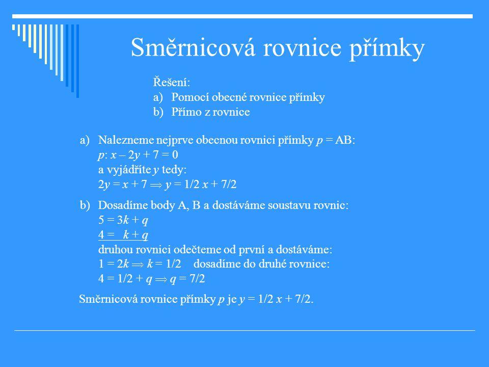 Směrnicová rovnice přímky