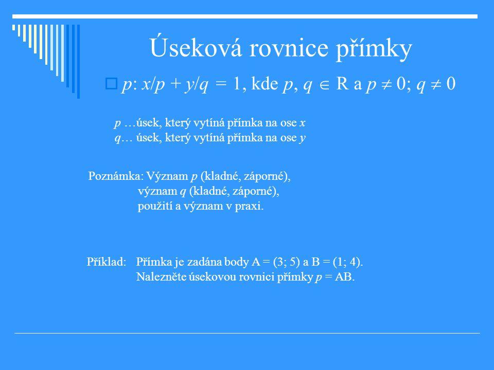 Úseková rovnice přímky