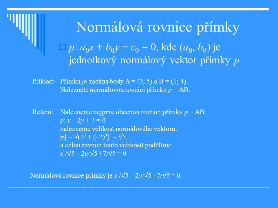 Normálová rovnice přímky