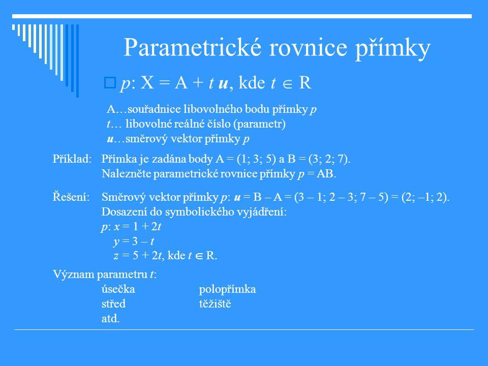 Parametrické rovnice přímky