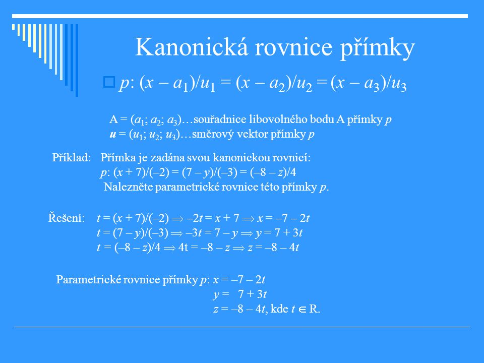 Kanonická rovnice přímky