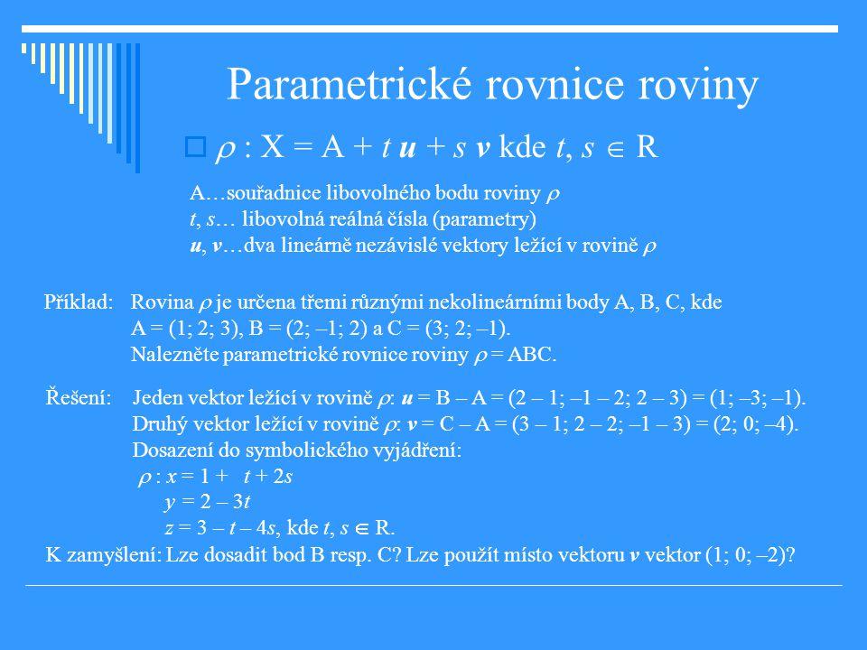 Parametrické rovnice roviny