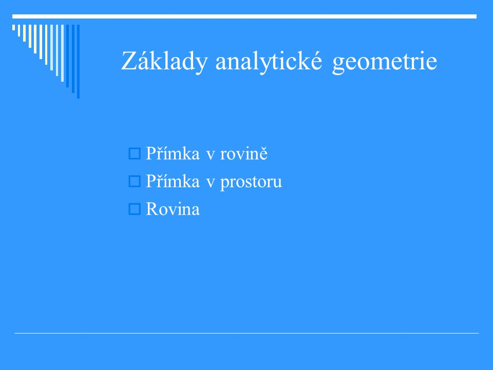 Základy analytické geometrie