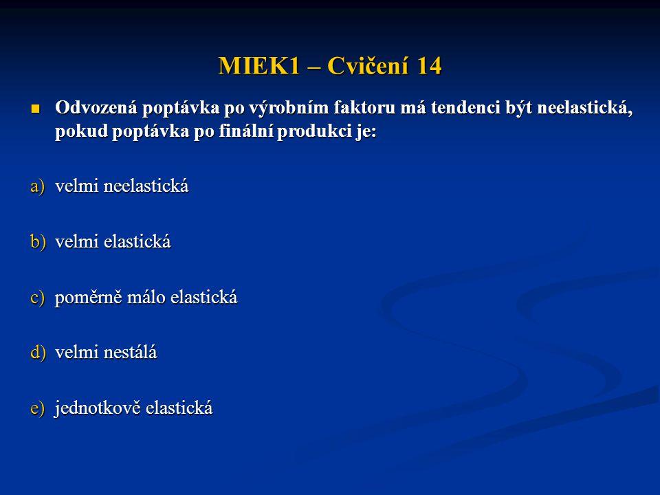 MIEK1 – Cvičení 14 Odvozená poptávka po výrobním faktoru má tendenci být neelastická, pokud poptávka po finální produkci je: