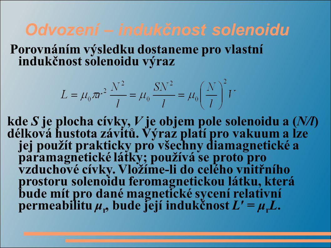 Odvození – indukčnost solenoidu