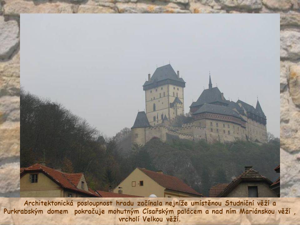 Architektonická posloupnost hradu začínala nejníže umístěnou Studniční věží a Purkrabským domem pokračuje mohutným Císařským palácem a nad ním Mariánskou věží , vrcholí Velkou věží.