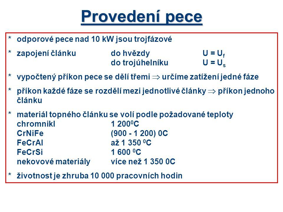 Provedení pece * odporové pece nad 10 kW jsou trojfázové