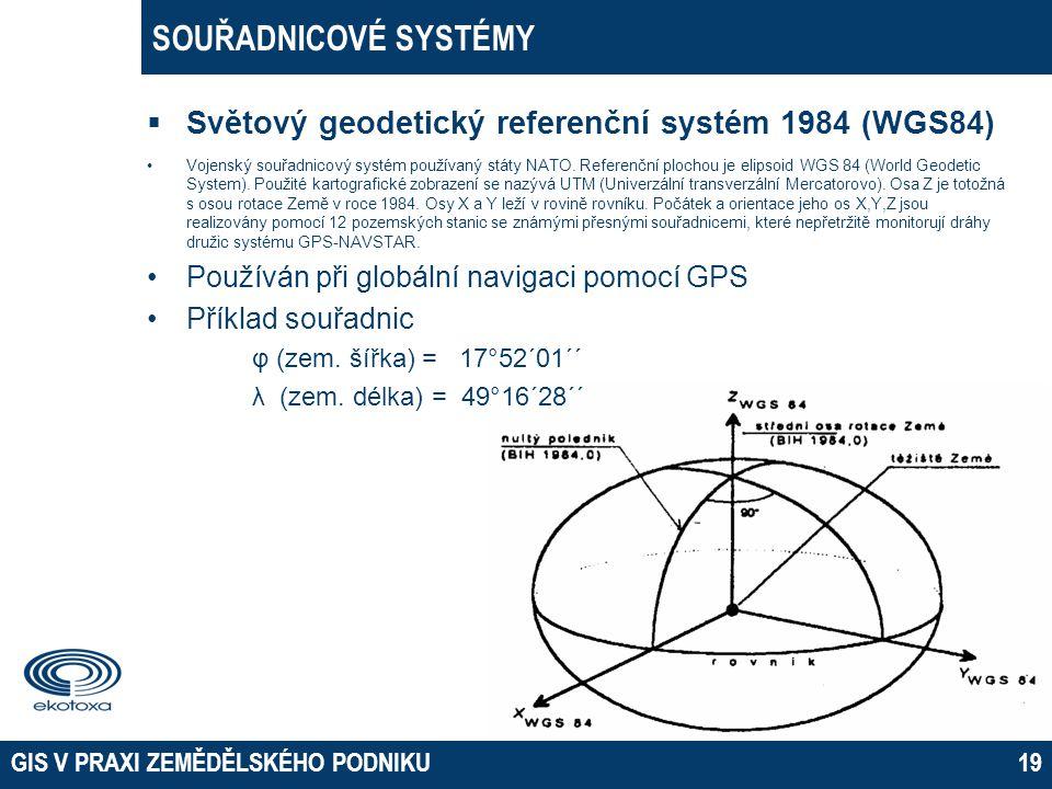 SOUŘADNICOVÉ SYSTÉMY Světový geodetický referenční systém 1984 (WGS84)