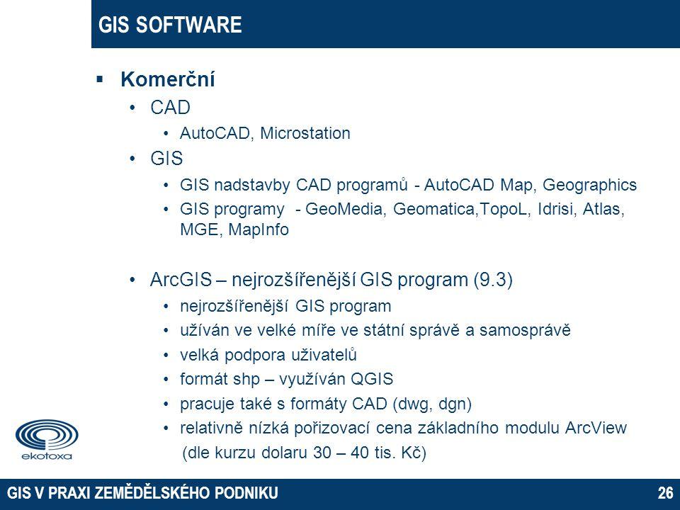 GIS SOFTWARE Komerční CAD GIS