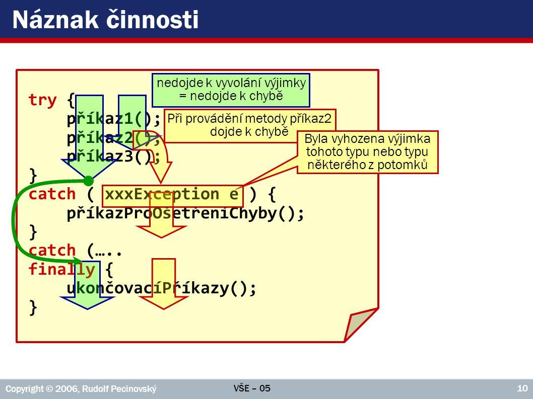 Náznak činnosti try { příkaz1(); příkaz2(); příkaz3(); }